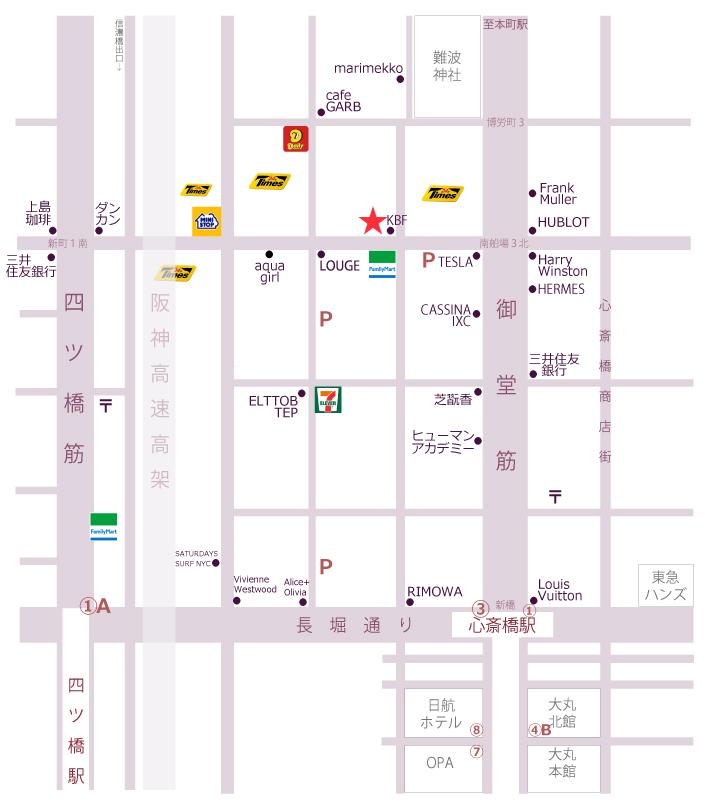 Wax&Co.南船場地図